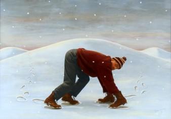 Man in Sneeuw