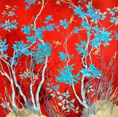 Red with Dragonflies